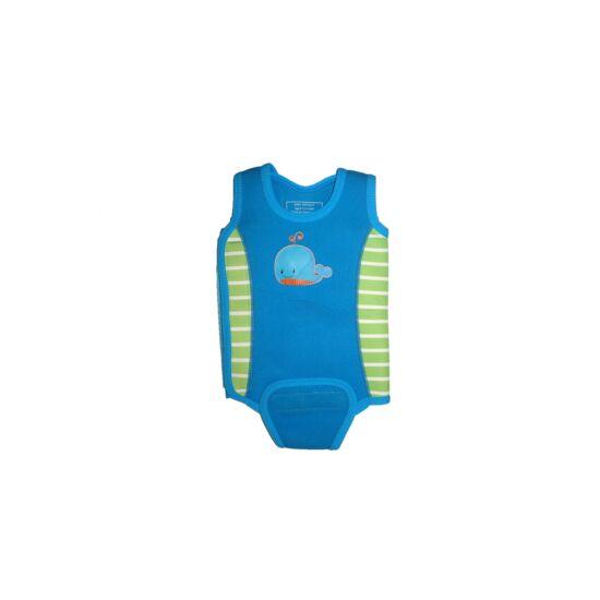 Vidám kék neoprén kombi - úszóruha babaúszáshoz 6-12 hó