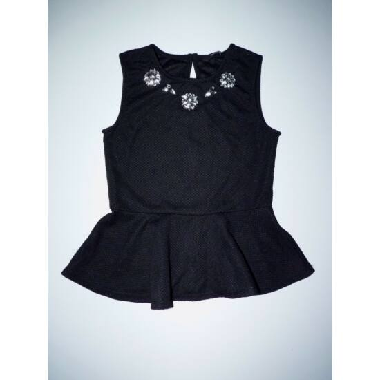 128/134-es divatos fekete alkalmi peplum felső