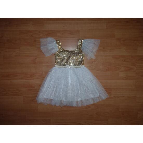 80/86-os gyönyörű arany, csillogós alkalmi ruha, angyal jelmez ELKELT
