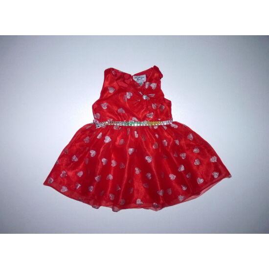 80-as gyönyörű piros szívecskés-masnis alkalmi tüll ruha