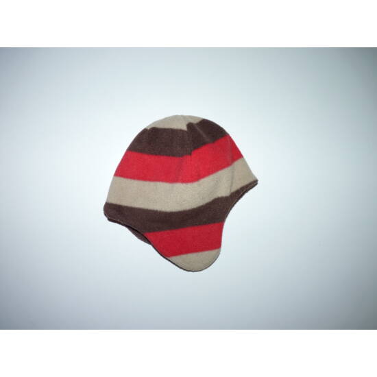 62/68-as barna-drapp-piros puha polár füles sapka