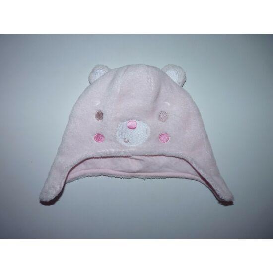 6-12 hó pamut bélelt puha macis füles sapka - rózsaszín