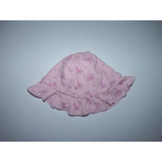 56/62-es tündéri rózsaszín azsúrozott nyári pamut kalap