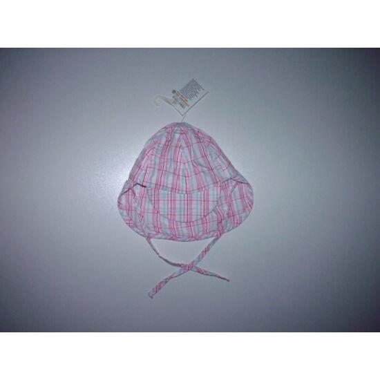 Tündéri rózsaszín mintás napsapka tarkóvédővel 3-6 hó - új