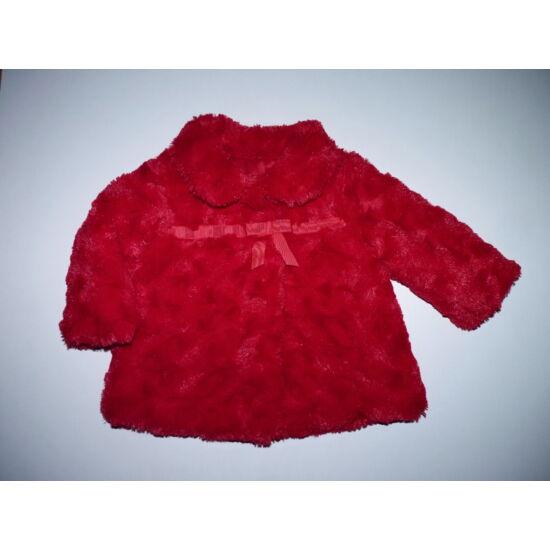 68/74-es gyönyörű piros, puha műszőrme kabát