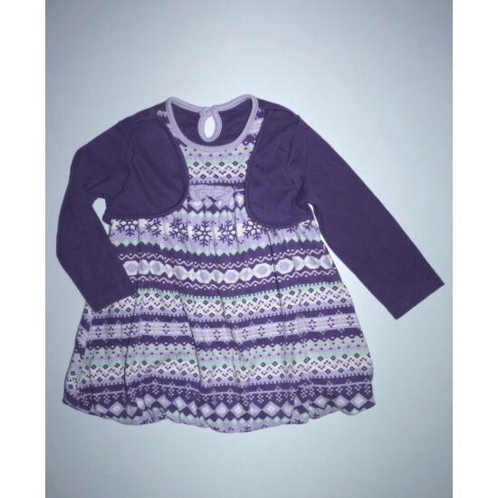74/80-as lila mintás puffos pamut ruha