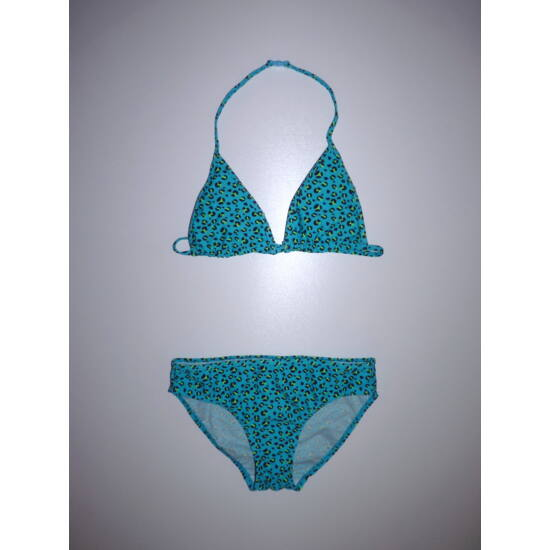 158/164-es csinos, türkizkék-neonzöld háromszög fazonú bikini