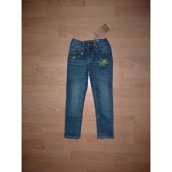 110-es divatos, szűk szárú, vagány pókháló mintás farmernadrág - új