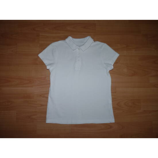 128-as fehér galléros lány póló