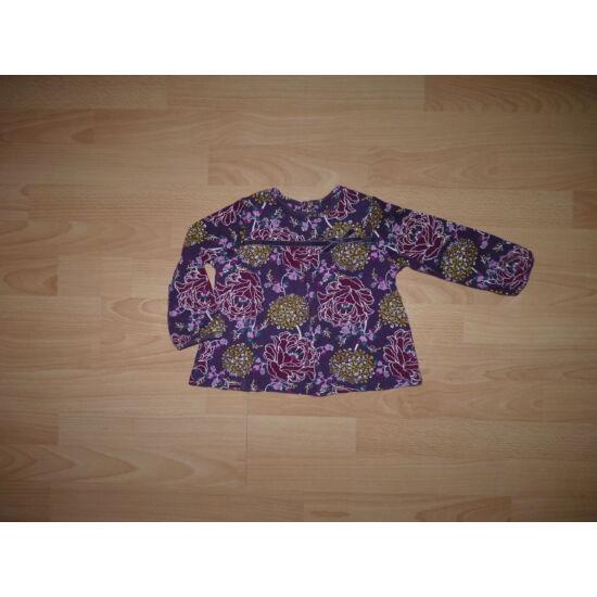 80/86-os, csinos lila virágos pamut felső