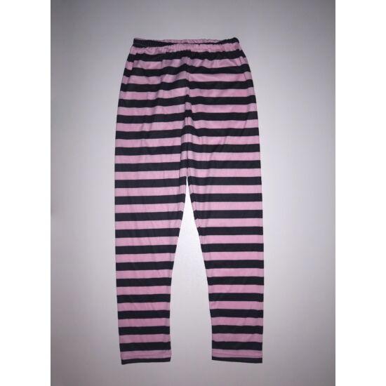 Rózsaszín-fekete csíkos jelmez nadrág - 7-10 év
