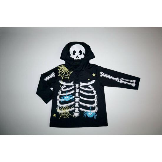 ~86/92-es Halloween csontváz jelmez felső pókokkal
