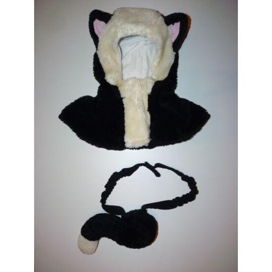Fekete-fehér cica jelmez kiegészítő - cicafej és farkinca ELKELT