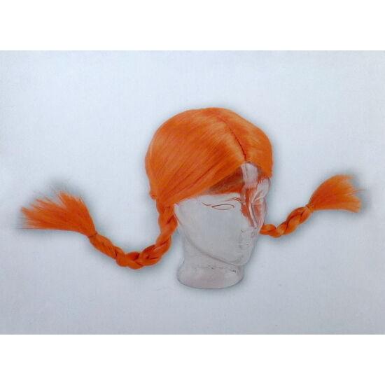 Fonott copfos kislány paróka - narancs