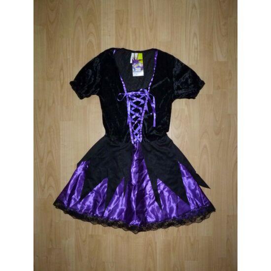 Fekete-lila csinos cakkos boszorkány jelmez S-es - új ELKELT