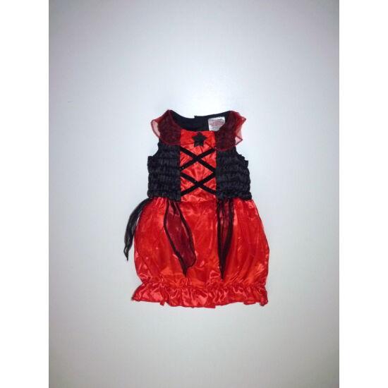 80/86-os tündéri piros-fekete kislány jelmez ruha