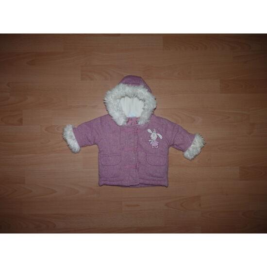 68-as gyönyörű, rózsaszín, csillogós, nyuszis, fehér szőrmés kabát