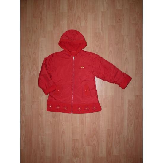 152/158-as csinos piros, polár bélelt kapucnis kabát