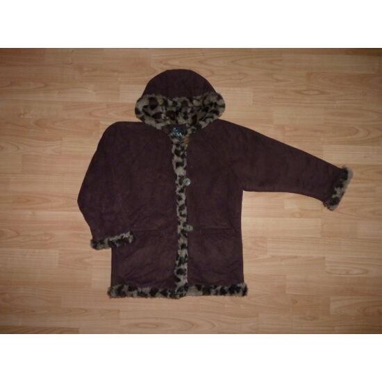 116-os irha utánzat kislány kabát szőrmés béléssel