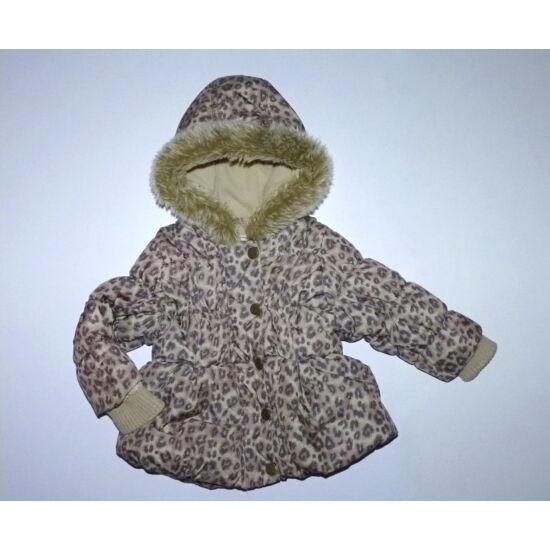 86-os Next párduc-leopárd mintás bélelt kislány kabát
