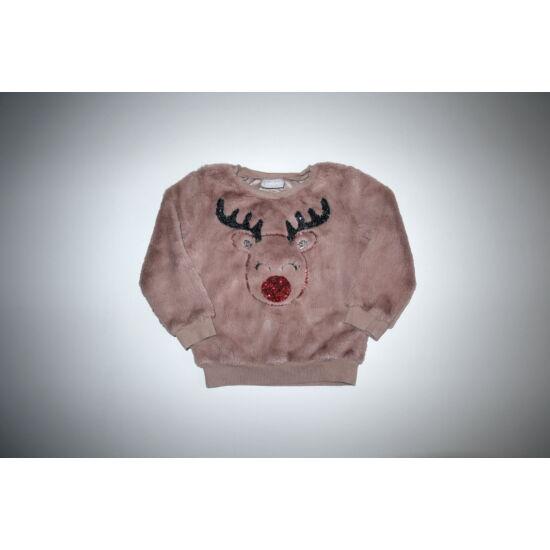 104-es pihe-puha flitteres rénszarvasos karácsonyi pulóver