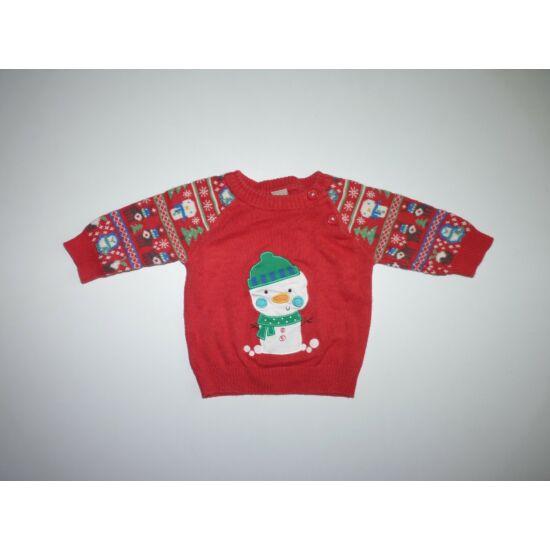 56/62-es TU hóemberes karácsonyi kötött baba pulóver