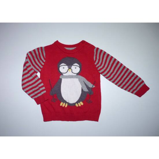 74-es síelő pingvin mintás kötött pulóver