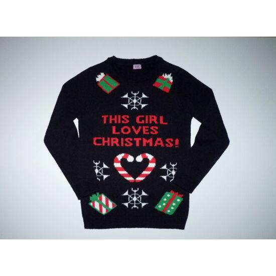 152-es vagány karácsonyi kötött lány pulóver