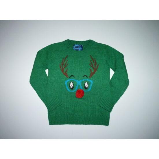 128-as karácsonyi Rudolf rénszarvas mintás kötött pulóver