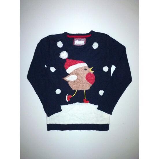 140/146-os vidám karácsonyi kötött pulóver