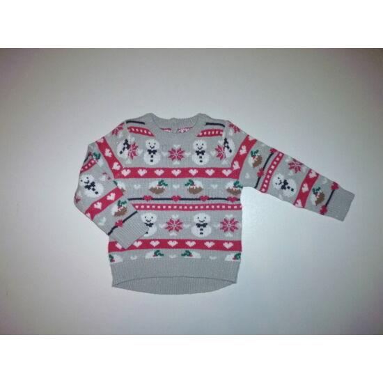 98-as karácsonyi csillogó hóemberes pulóver
