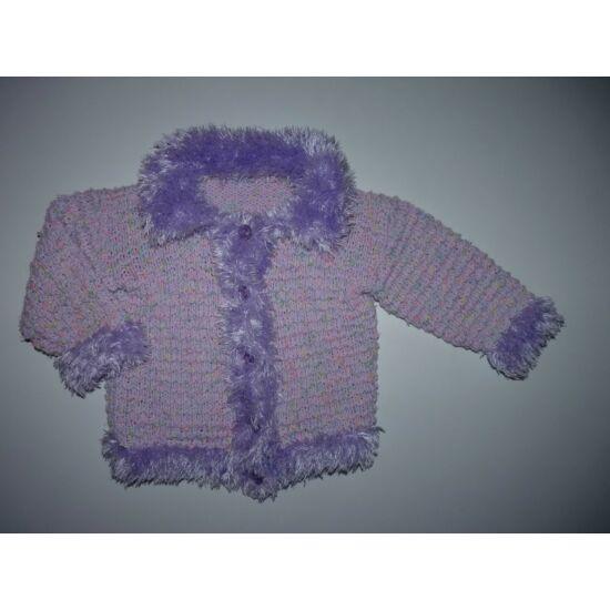 ~74-es csodaszép lila szőrmés kardigán, kocsikabát