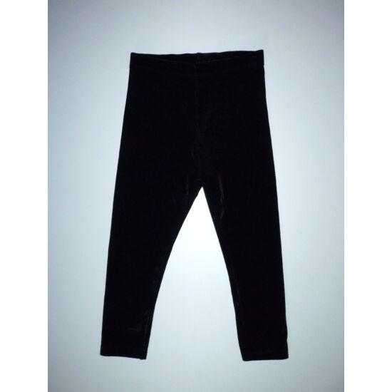 86/92-es fényes fekete bársony leggings