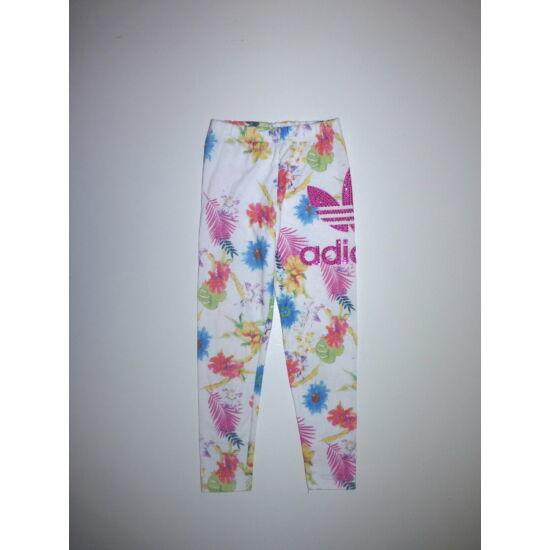 110/116-os Adidas virágos-strasszos kislány leggings - játszósabb