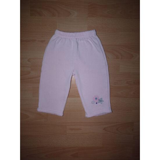 80/86-os rózsaszín, meleg szabadidő nadrág