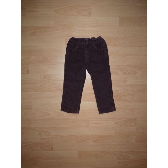 98-as M&Co barna mikrokord nadrág állítható derékkal