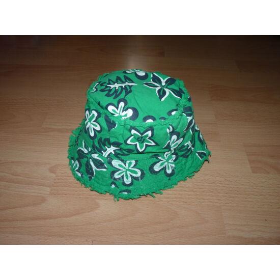 Zöld, virág mintás nyári kalap 2-4 év
