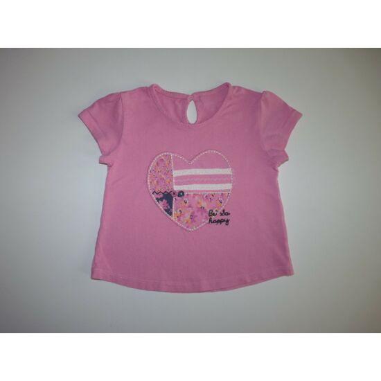 98/104-es rózsaszín, szívecske mintás póló