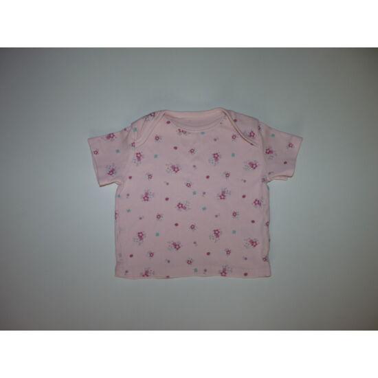 74-es rózsaszín virágos pamut póló