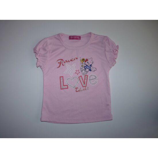 98-as tündéri cicás rózsaszín póló
