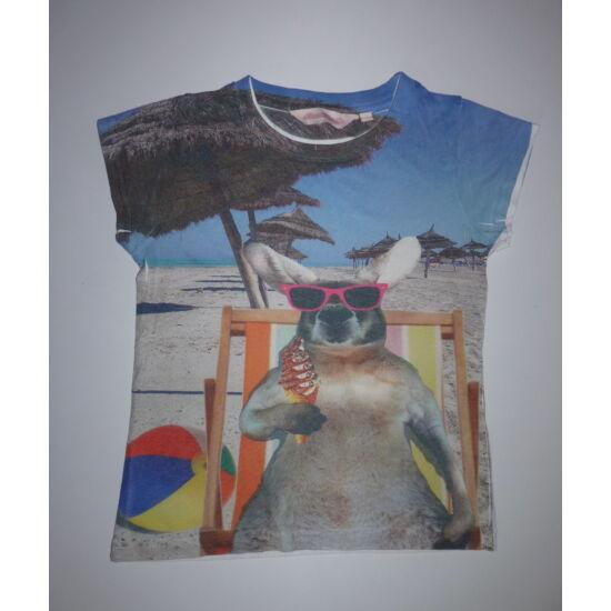 134/140-es vidám nyári kengurus póló