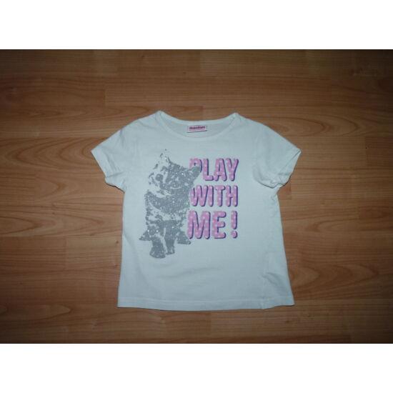 116-os ezüst cicás feliratos pamut póló