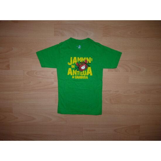 92/98/104-es zöld pamut póló rákocskás mintával