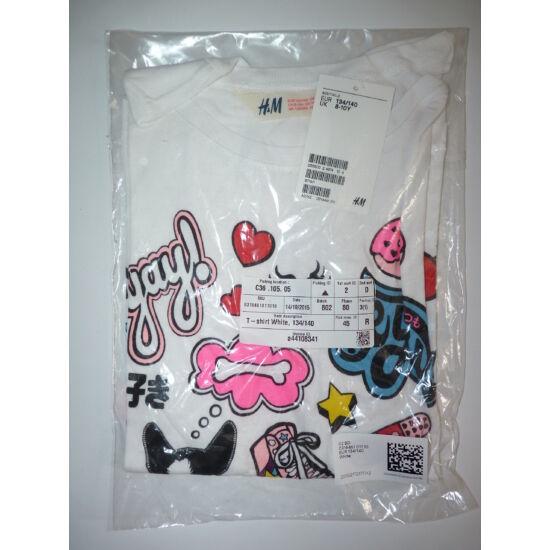 134/140-es H&M fehér, csajos mintás pamut póló - új