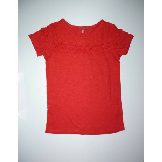 128/134-es csinos, piros pamut póló