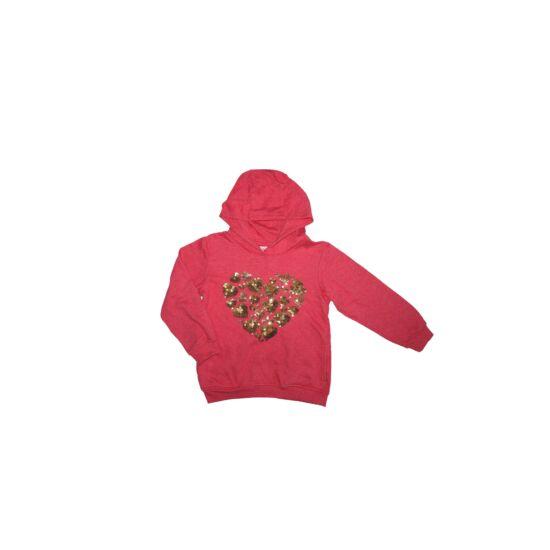 116-os szívecskés flitteres kapucnis pulóver