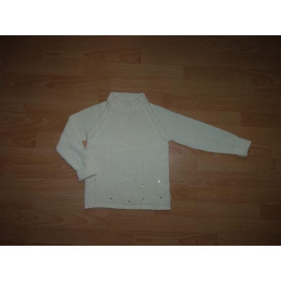 128/134-es vajszínű kötött lány pulóver