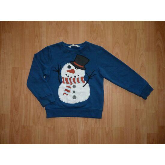 110/116-os H&M szuper, hóember mintás felső, pulóver