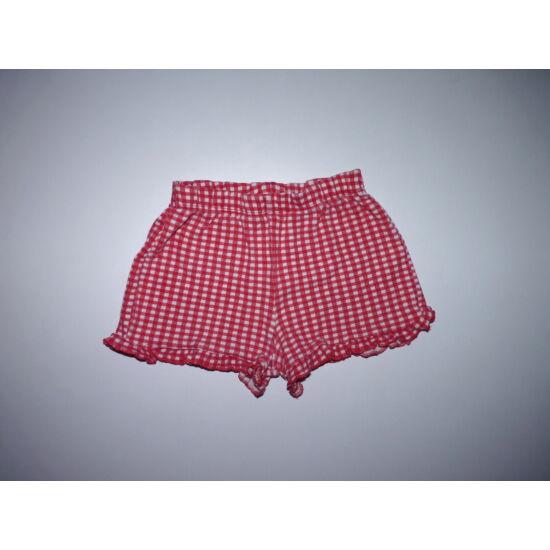 98/104-es piros kockás rövidnadrág, kislány sort