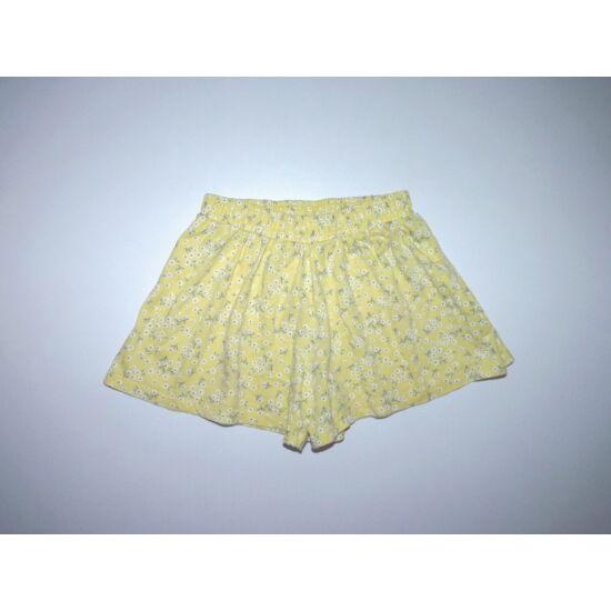 98-as sárga, apró virágos pamut rövidnadrág, sort